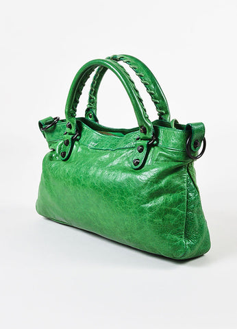 "Balenciaga Green Distressed Lambskin Leather ""Classic First"" Bag Sideview"