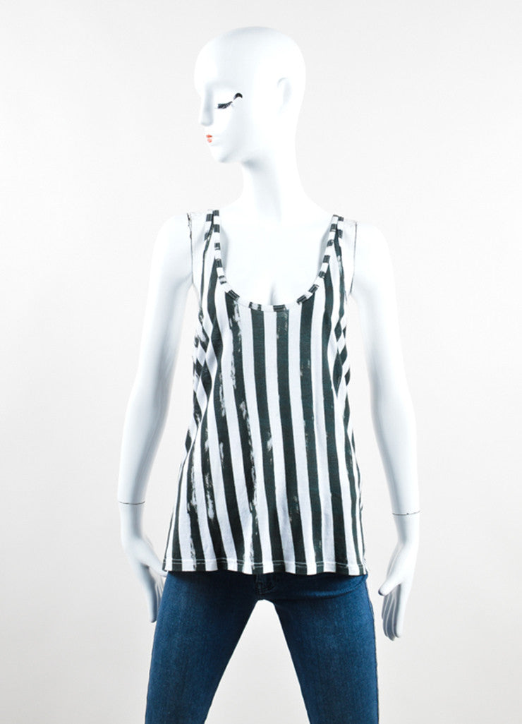 Balmain Green and White Vertical Striped Scoop Neck Tank Top Frontview