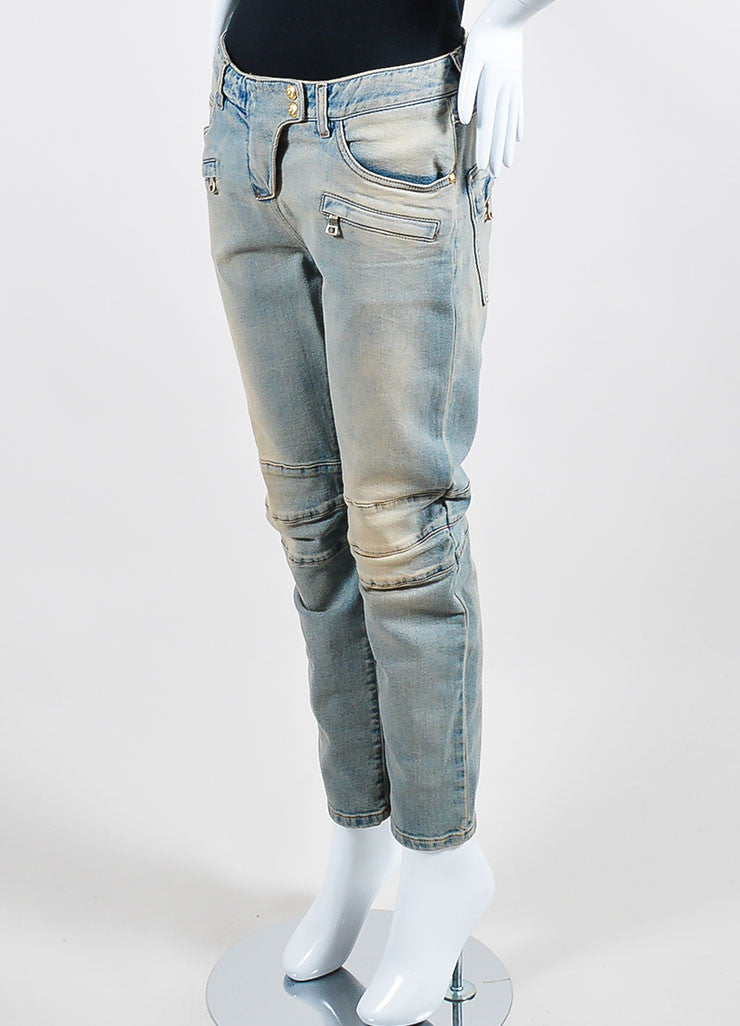 Balmain Light Blue and Tan Denim Paneled Slim Fit Moto Jeans Sideview