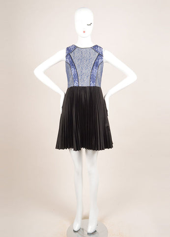 Bensoni Blue and Black Lace Pleated Skirt Sleeveless Dress Frontview