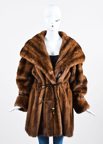 Bisang Brown Fur Double Breasted Hooded Coat Frontview