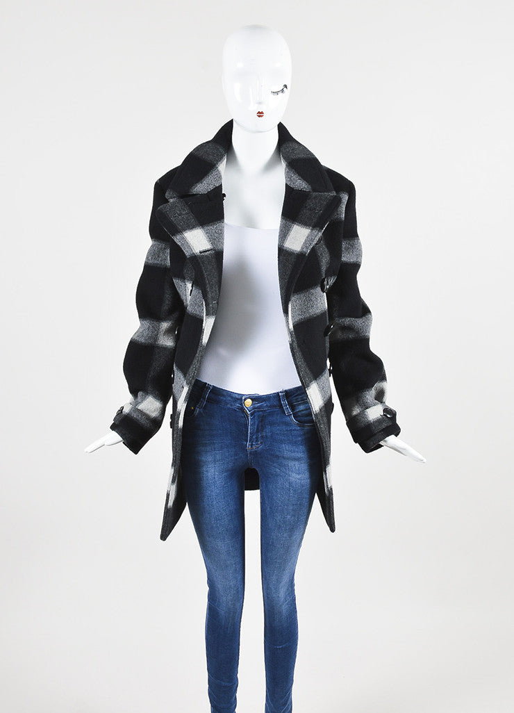 Grey and Black Burberry Brit Wool Plaid Double Breasted Pea Coat Frontview
