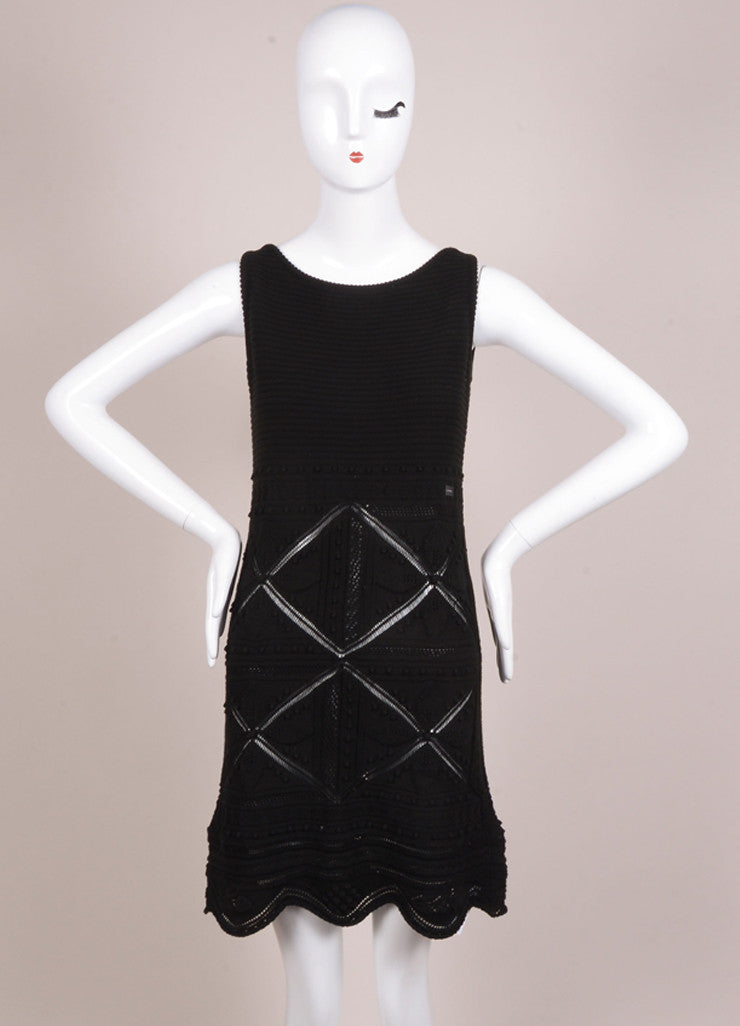 Chanel Black Embroidered Crochet Knit Sleeveless Dress Frontview