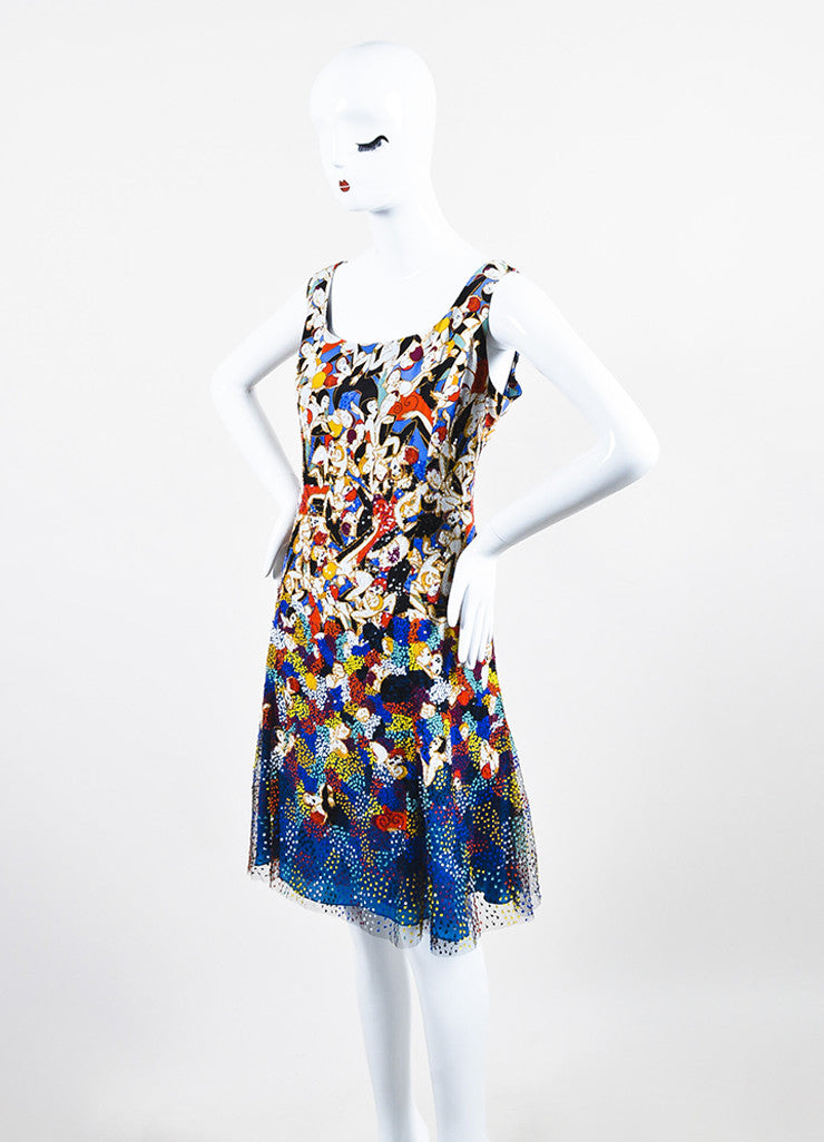 Carolina Herrera Multicolor Silk Dancer Print Sequin Sleeveless Dress Sideview
