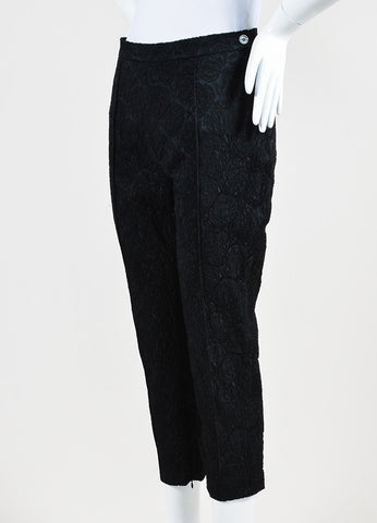Black Celine Silk Embroidered Texture Cropped Tapered Trousers Sideview