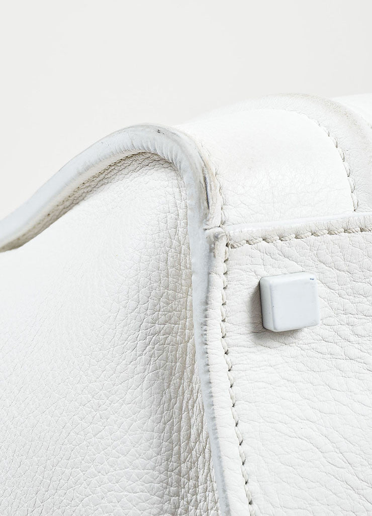 "White Celine Leather Braid Pull ""Small Phantom Luggage"" Tote Detail 4"