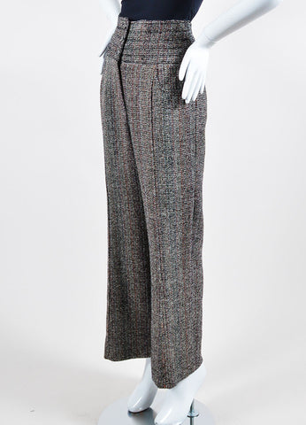 Black, White, and Red Chanel Tweed High Waisted Wide Leg Trousers Sideview