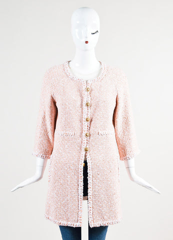 Chanel Peach and White Tweed Faux Pearl 'CC' Button Car Coat Frontview 2