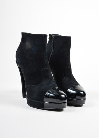 Black Chanel Suede and Patent Leather Cap Toe Platform Boots Frontview