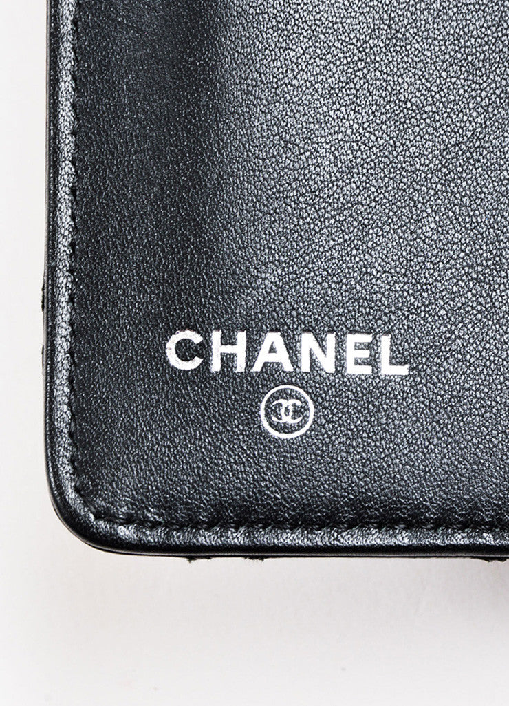 Chanel Black Lambskin Leather Quilted 'CC' Detail Coat Breast Pocket Wallet Brand