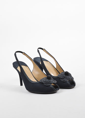 Chanel Black Canvas Raffia Flower Peep Toe Slingback Pumps Frontview