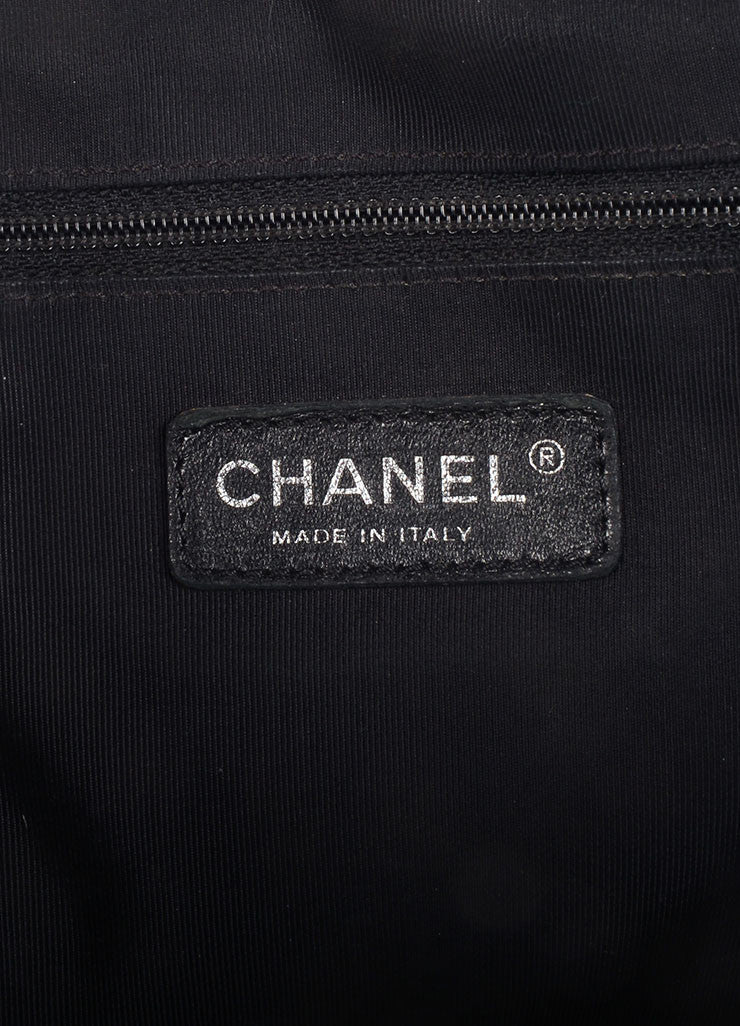 "Chanel Black Patent Leather Quilted Embroidered ""CC"" Logo Shoulder Bag Brand"