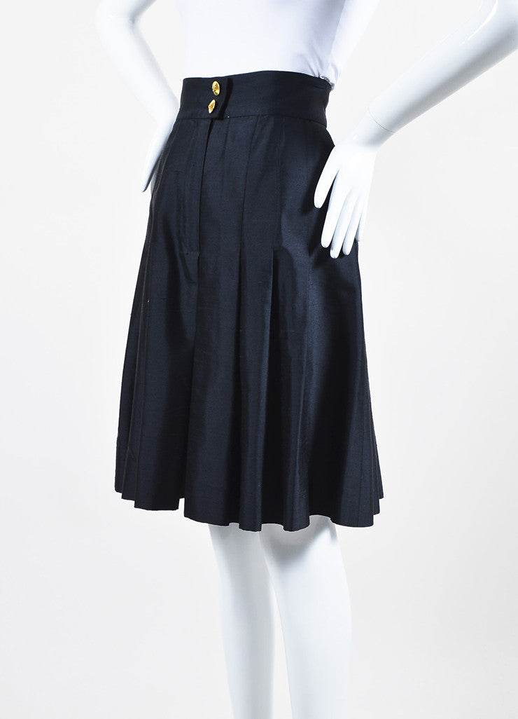 Chanel Navy Blue Silk Soft Pleated Culotte Shorts Sideview