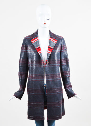 Chanel Charcoal Grey, Red, and White Coated Cashmere Striped Jacket Frontview