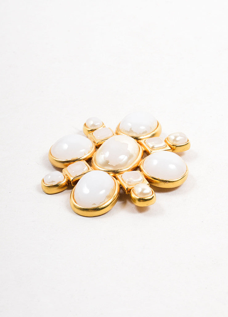 Chanel Gold Toned and White Round Square Stone Geometric Brooch Sideview