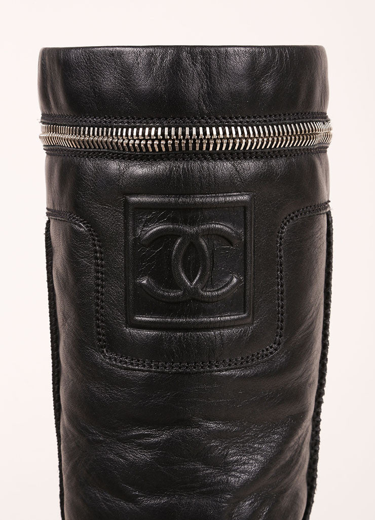 "Chanel Black Zip Pocket ""CC"" Leather Moto Boots Brand"