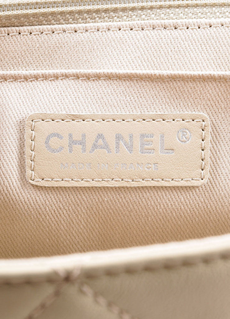 "Chanel Light Beige Calfskin Leather ""Quilted in the Business"" Flap Bag Brand"