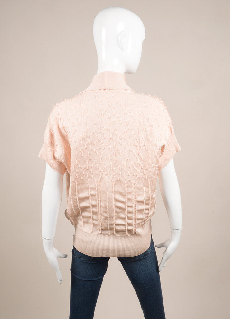 Chanel Light Pink Knit Faux Pearl Double Breasted Short Sleeve Sweater Backview