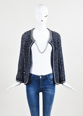 Blue Gray Chanel Textured Knit Chain Collar Jacket Front