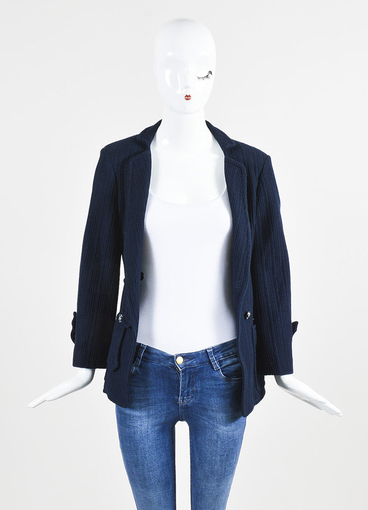 å´?ÌÜChanel Navy Blue Cotton Ribbed Button Tab Blazer Jacket Frontview