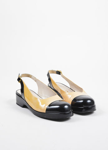Chanel Nude and Black Patent Leather Cap Toe Slingback Platform Flats Frontview