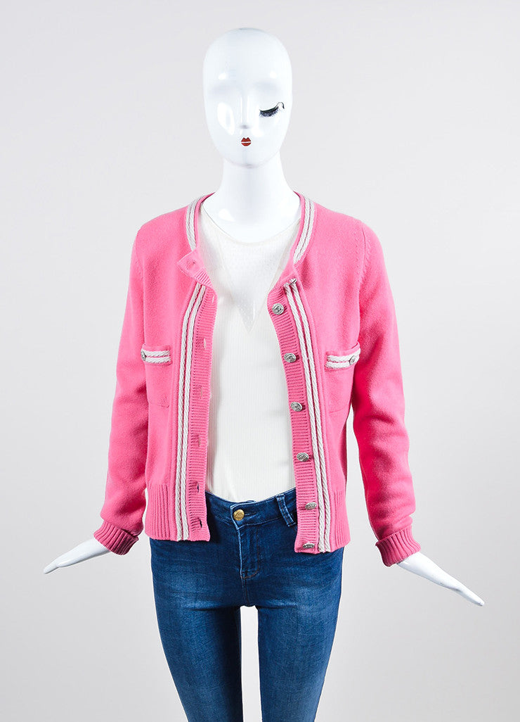 Pink and White Chanel Cashmere Silver Toned 'CC' Button Up Rib Knit Cardigan Frontview