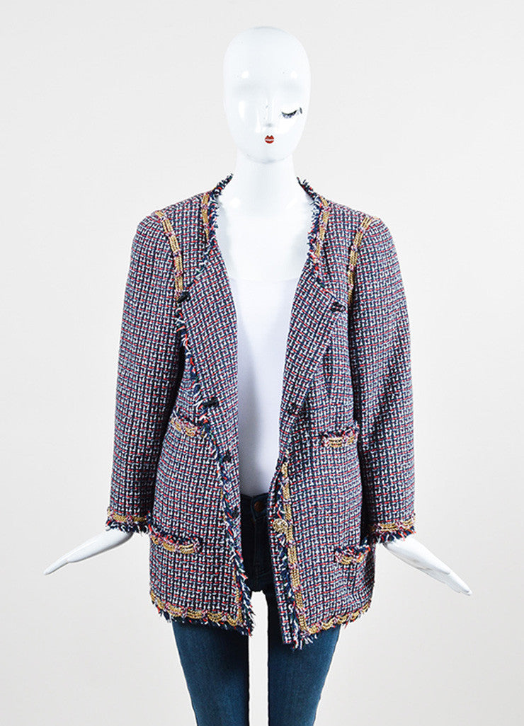 Chanel Red, Blue, and Green Gold Chain Trim 'CC' Button Tweed Fringe Trim Jacket Frontview