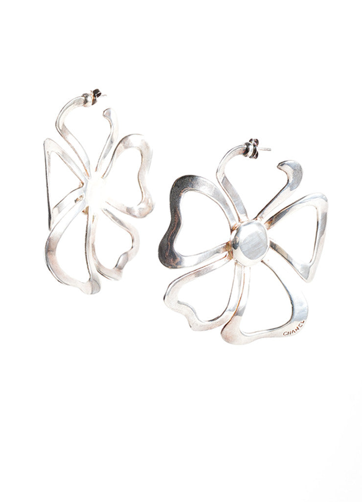 Chanel Sterling Silver Oversized Cut Out Flower Earrings Frontview