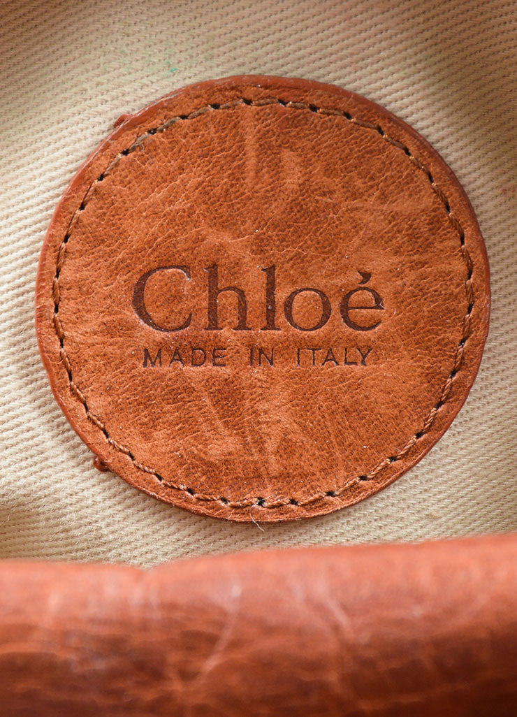 "Chloe Brown Leather Whipstitch ""Mini Silverado"" Satchel Bag Brand"