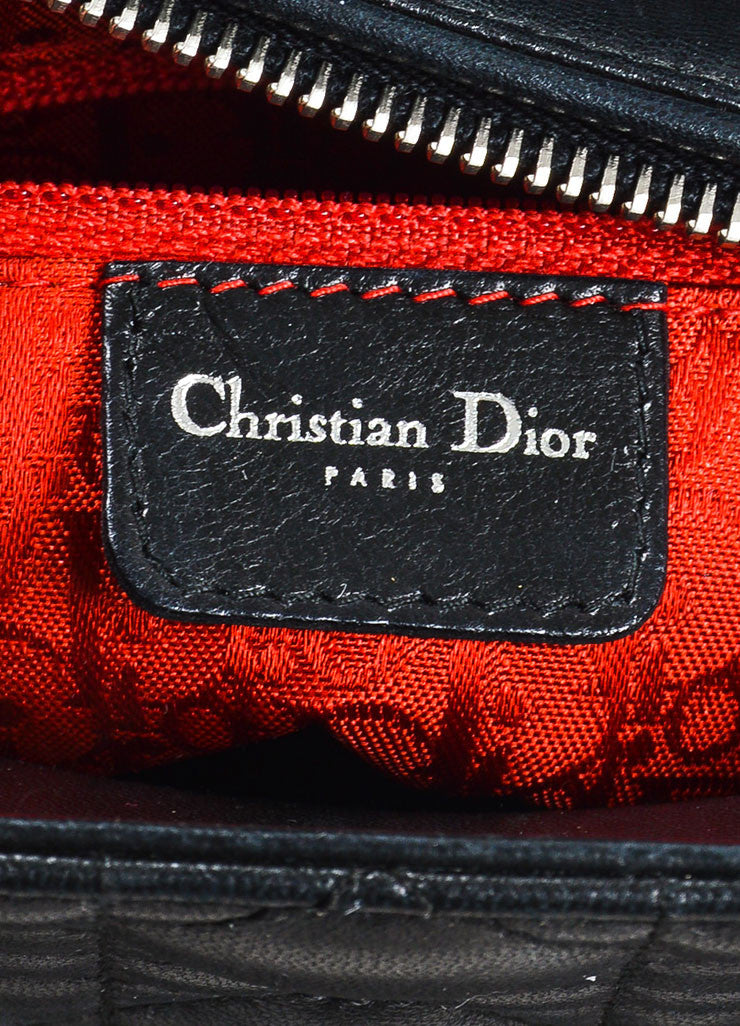 "Christian Dior Black Leather Cannage Quilted ""Lady Dior Medium"" Tote Bag Brand"