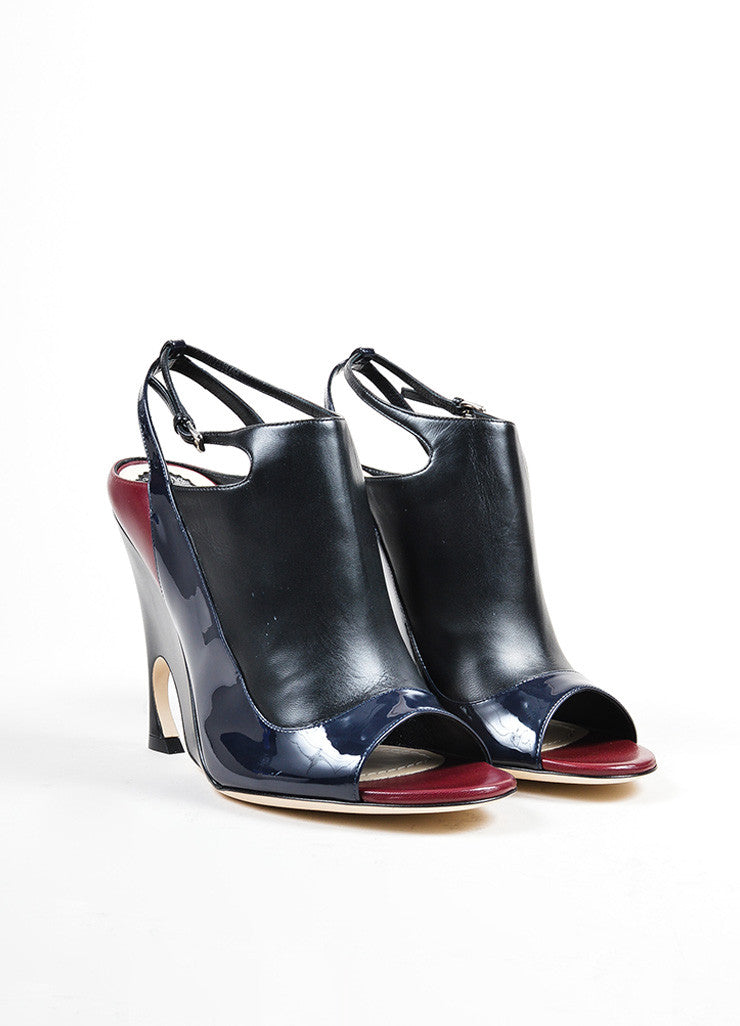 "Black, Maroon, and Navy Leather Christian Dior ""Audace"" Wedges Frontview"