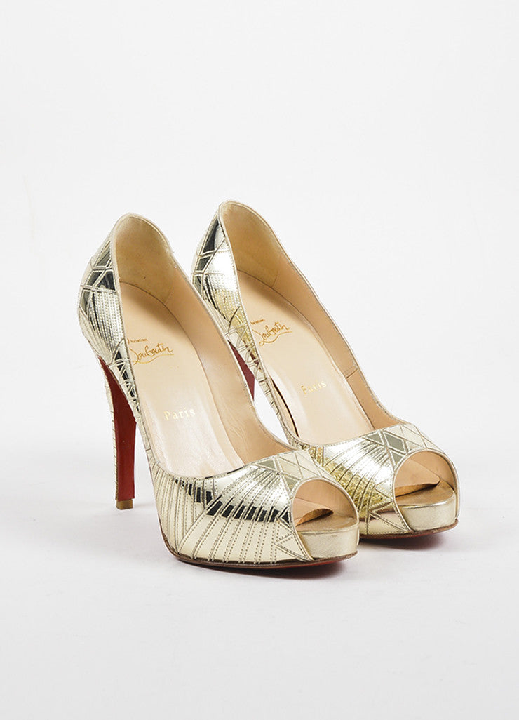 "Christian Louboutin Gold Leather Mirrored ""Very Galaxy"" Pumps Frontview"