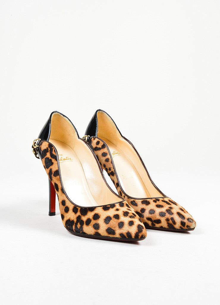 "Tan Christian Louboutin Pony Hair Patent Leopard ""Dorepi"" Pumps Frontview"