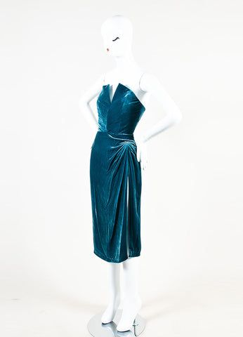 "Cushnie Et Ochs Teal Crushed Velvet ""Jessica"" Strapless Dress  Sideview"