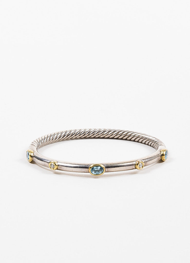 David Yurman Sterling Silver, 18K Gold, Blue Topaz, and Diamond Cable Bangle Bracelet frontview