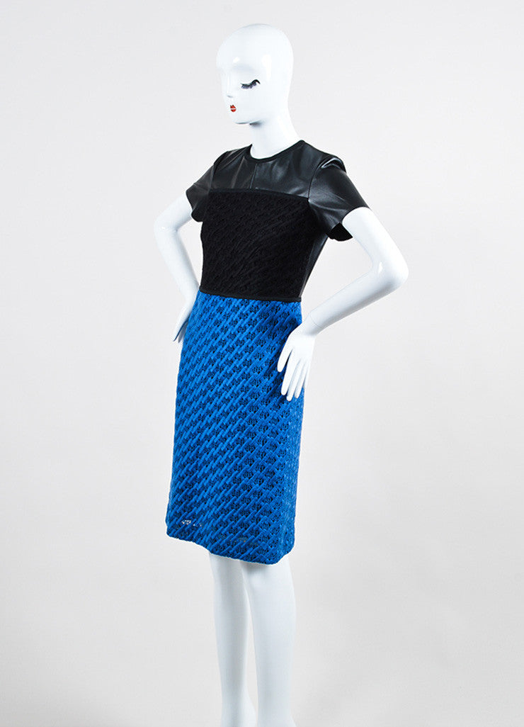 Black and Blue Derek Lam Vegan Leather Crochet Knit Color Block Short Sleeve Dress Sideview