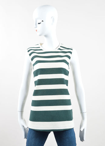 Derek Lam Green and Cream Striped Sleeveless Top Front