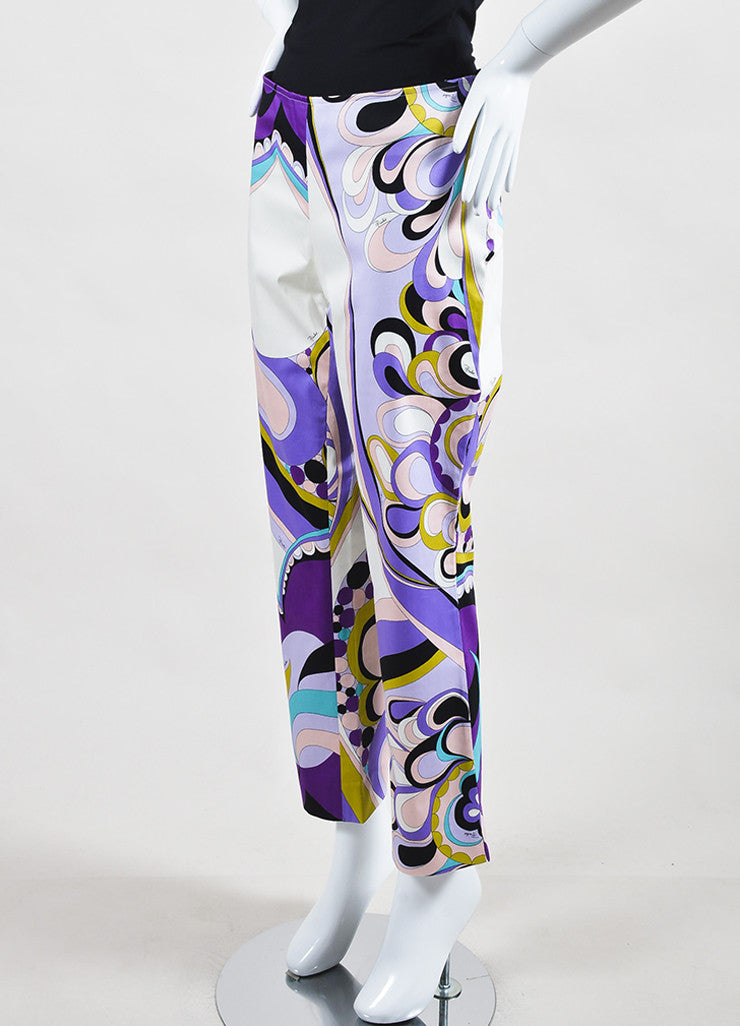 Emilio Pucci Firenze Multicolor Cotton Abstract Printed Pants Sideview
