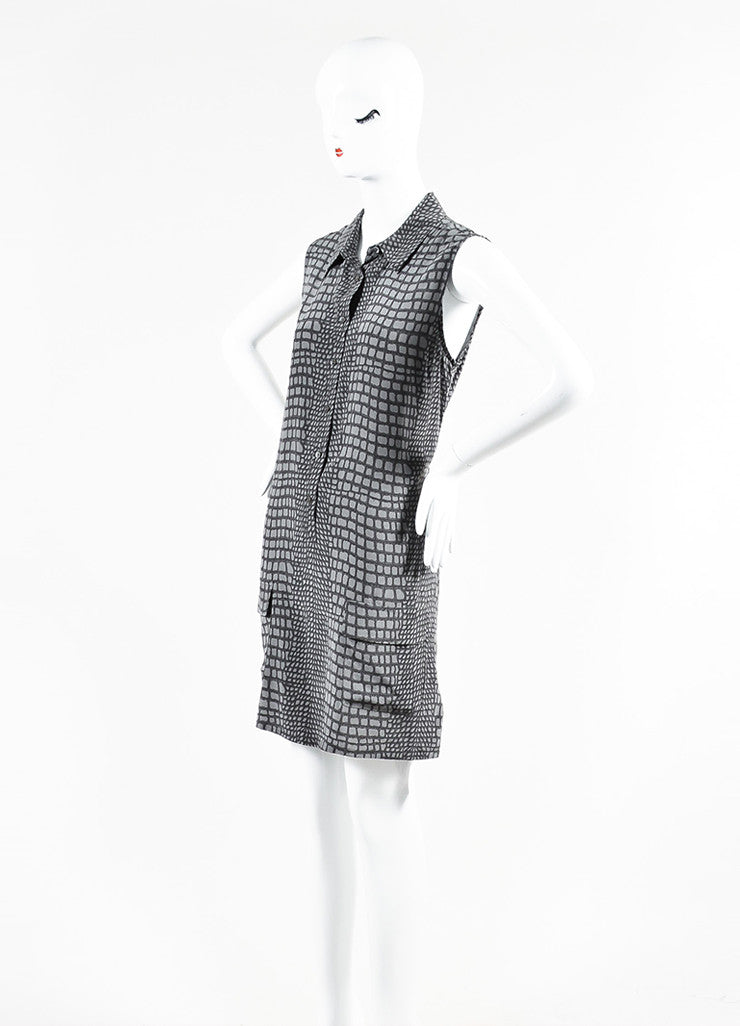 Equipment Femme Grey Silk Snakeskin Print Sleeveless Shirt Dress Frontview