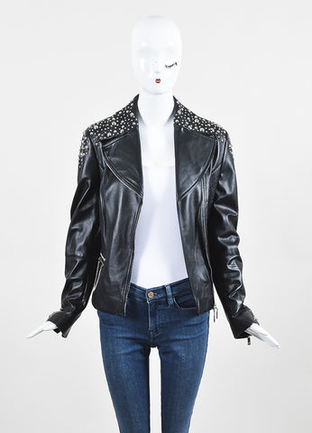 Escada Black and Silver Nappa Leather Studded Moto Jacket frontview