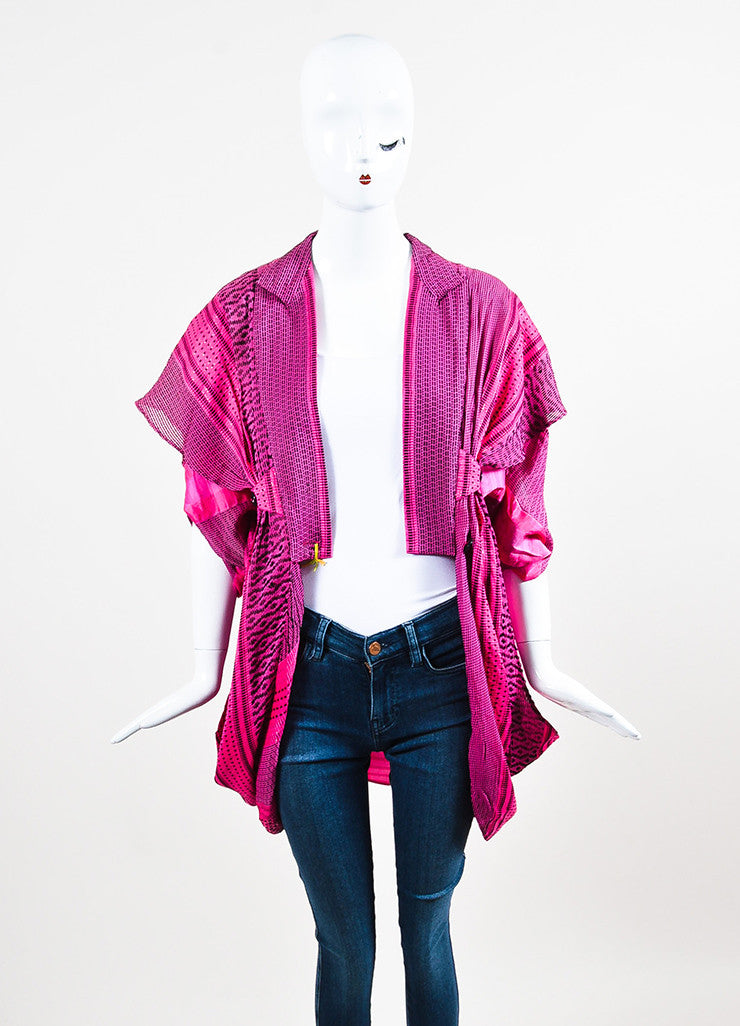 Etro Pink and Black Silk Blend Woven Shimmer Draped Short Sleeve Jacket Cover Up Frontview