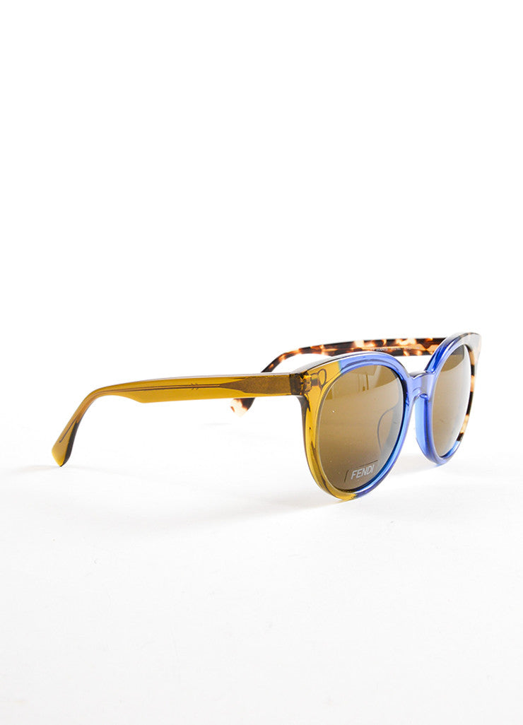 "Fendi Blue and Tortoise Plastic ""FF 0064S"" Two Tone Round Sunglasses Sdieview"