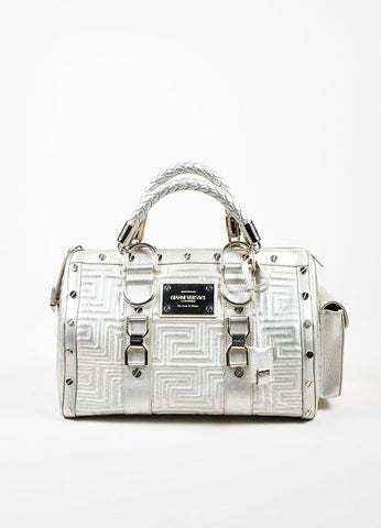 Gianni Versace Couture Silver Leather Quilted Braided Handle Screw Stud Handbag Frontview