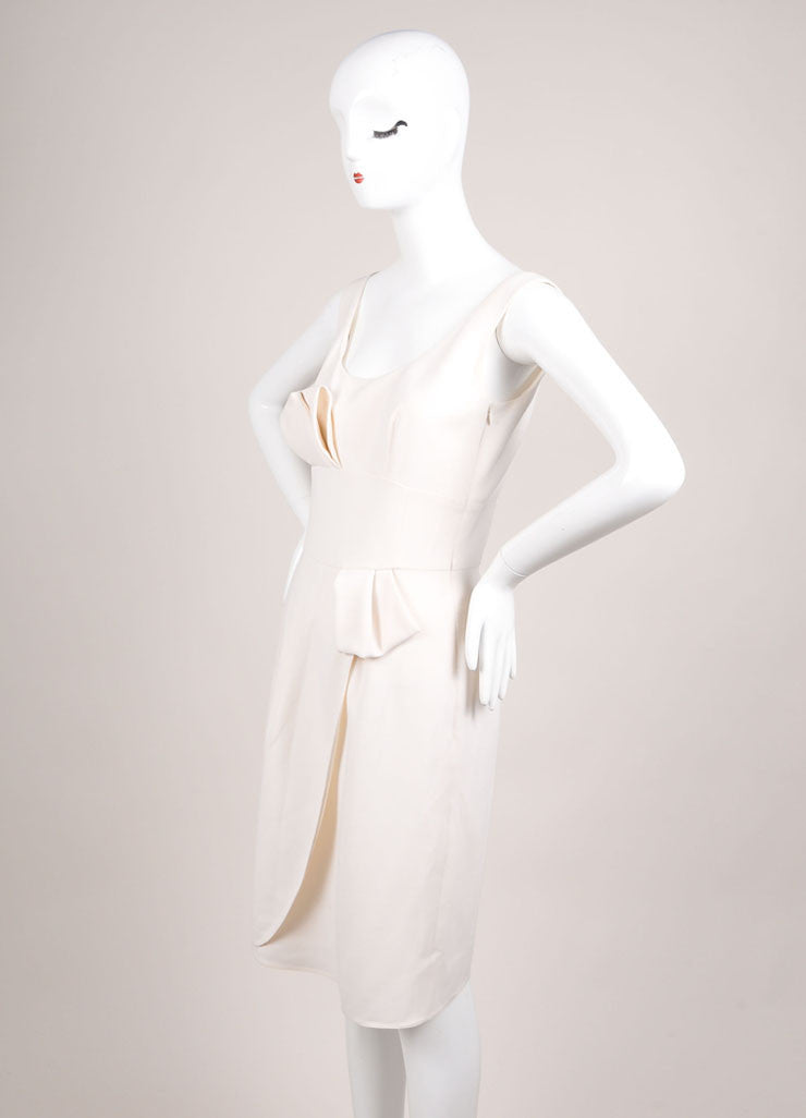 Giorgio Armani Cream Pleated Bow Wrap Sleeveless Shift Dress Sideview