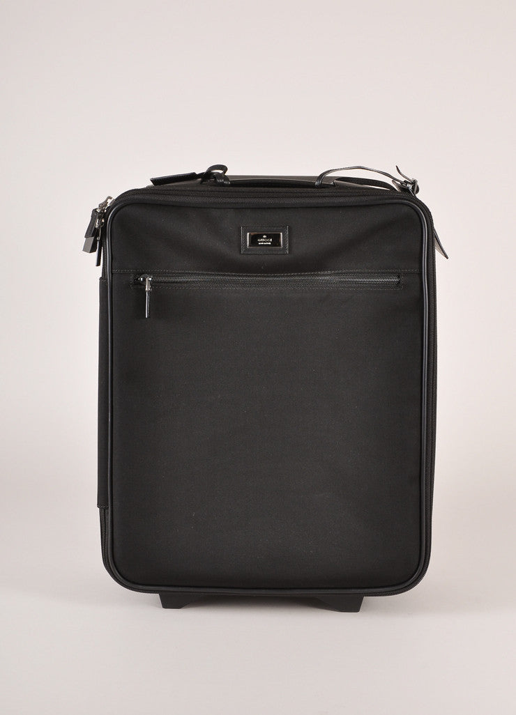 Gucci Black Canvas Carry-On Rolling Suitcase Frontview
