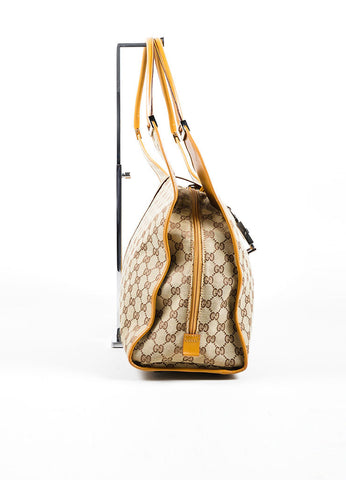 Gucci Beige Canvas and Leather Monogram Large Shoulder Bag Sideview