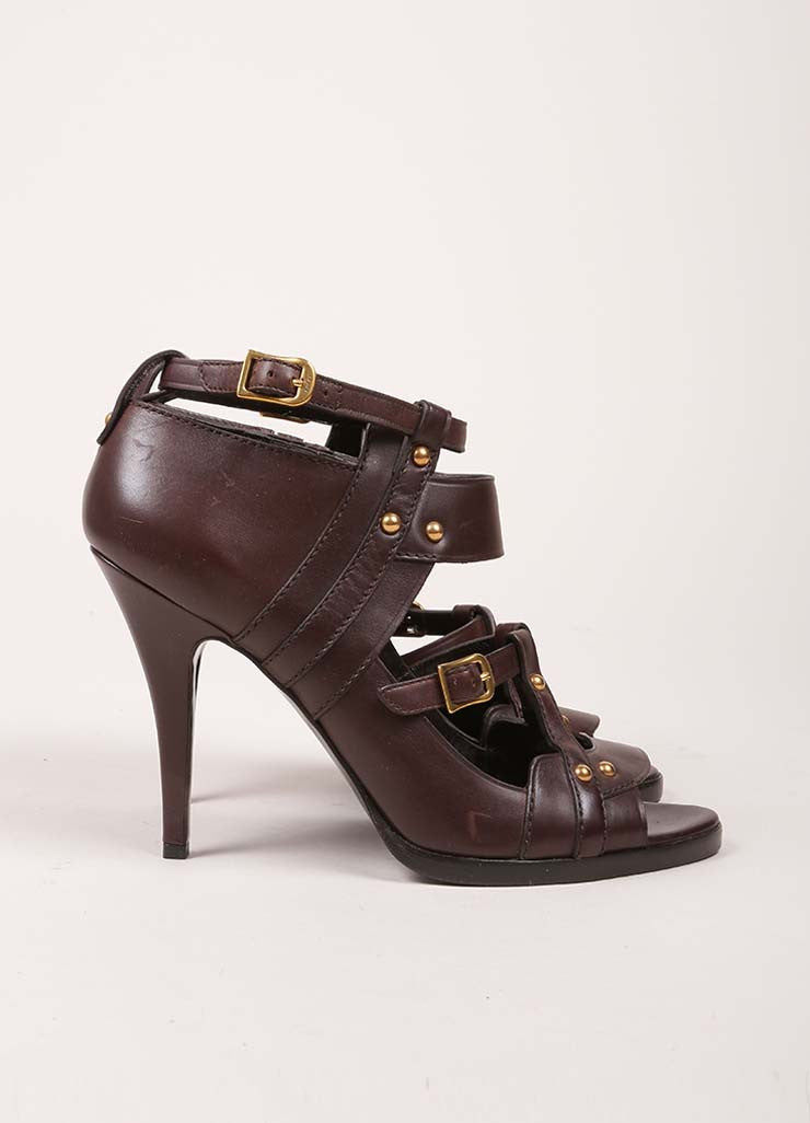 Gucci Brown Leather Studded Cut Out Ankle Strap Gladiator Sandals Sideview