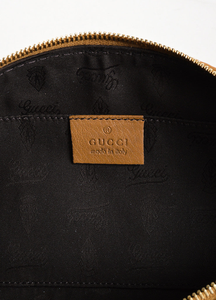 Gucci Tan Pebbled Leather Tassel Zip Pouch Clutch Brand