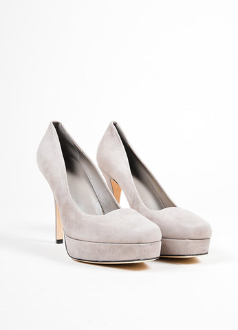 """Tile"" Grey Gucci Suede Mid Heel Platform Square Toe Pumps Frontview"