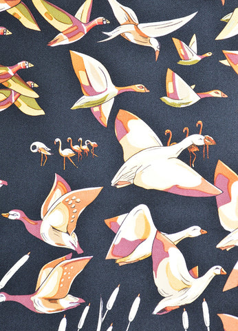 "Hermes Black and Gold Silk Twill ""Libres Comme l'Air"" Duck Print 90cm Scarf Detail"